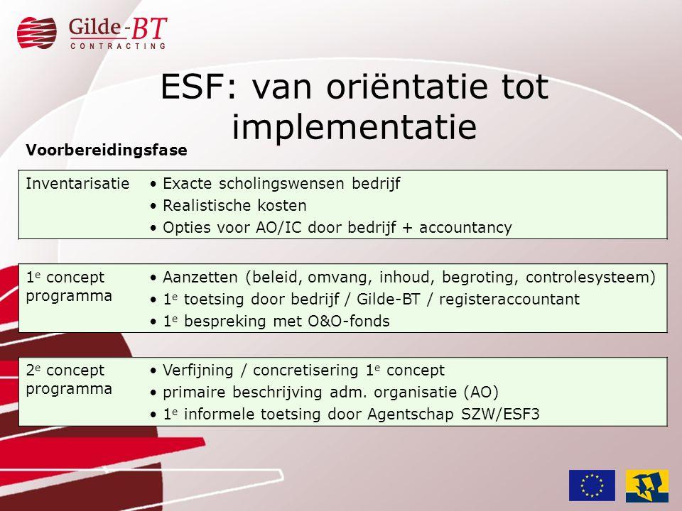 Voorbereidingsfase Inventarisatie• Exacte scholingswensen bedrijf • Realistische kosten • Opties voor AO/IC door bedrijf + accountancy 1 e concept pro