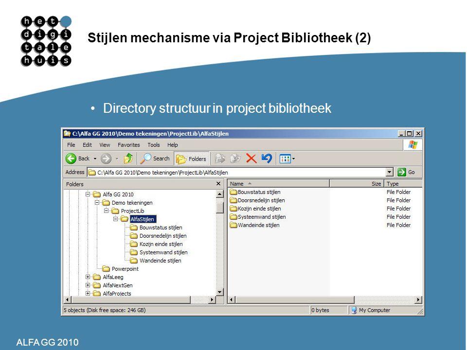 ALFA GG 2010 Stijlen mechanisme via Project Bibliotheek (2) •Directory structuur in project bibliotheek