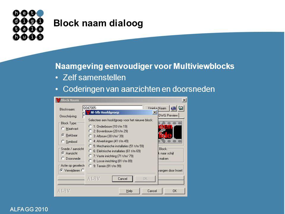 ALFA GG 2010 Block naam dialoog Naamgeving eenvoudiger voor Multiviewblocks •Zelf samenstellen •Coderingen van aanzichten en doorsneden