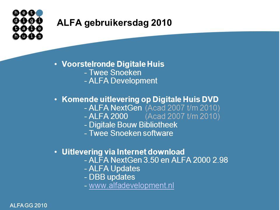 ALFA GG 2010 ALFA gebruikersdag 2010 •Voorstelronde Digitale Huis - Twee Snoeken - ALFA Development •Komende uitlevering op Digitale Huis DVD - ALFA N