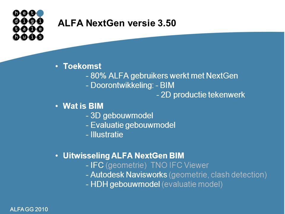 ALFA GG 2010 ALFA NextGen versie 3.50 •Toekomst - 80% ALFA gebruikers werkt met NextGen - Doorontwikkeling: - BIM - 2D productie tekenwerk •Wat is BIM