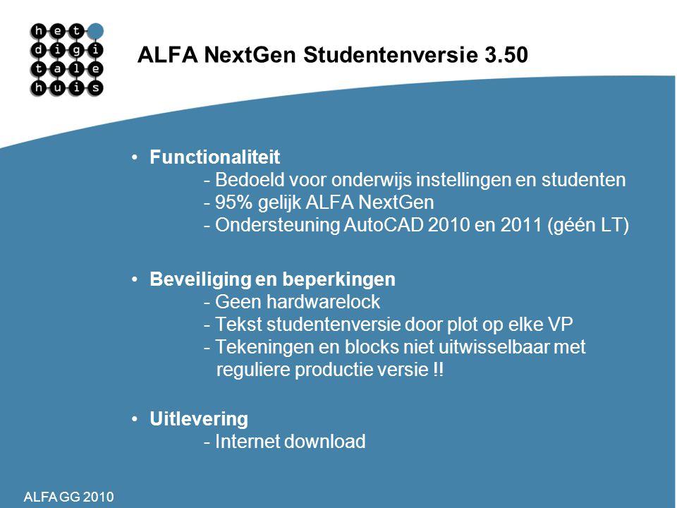 ALFA GG 2010 ALFA NextGen Studentenversie 3.50 •Functionaliteit - Bedoeld voor onderwijs instellingen en studenten - 95% gelijk ALFA NextGen - Onderst