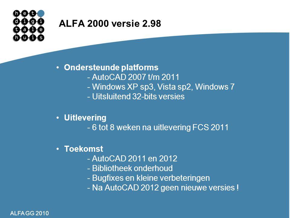 ALFA GG 2010 ALFA 2000 versie 2.98 •Ondersteunde platforms - AutoCAD 2007 t/m 2011 - Windows XP sp3, Vista sp2, Windows 7 - Uitsluitend 32-bits versie