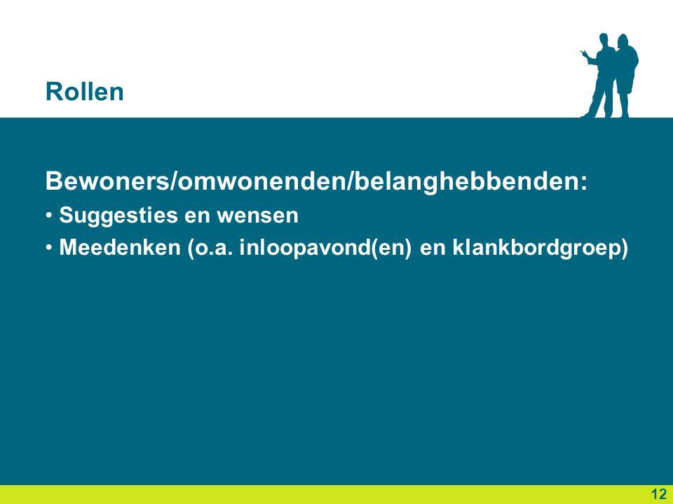 Rollen Bewoners/omwonenden/belanghebbenden: • Suggesties en wensen • Meedenken (o.a. inloopavond(en) en klankbordgroep) 13 12