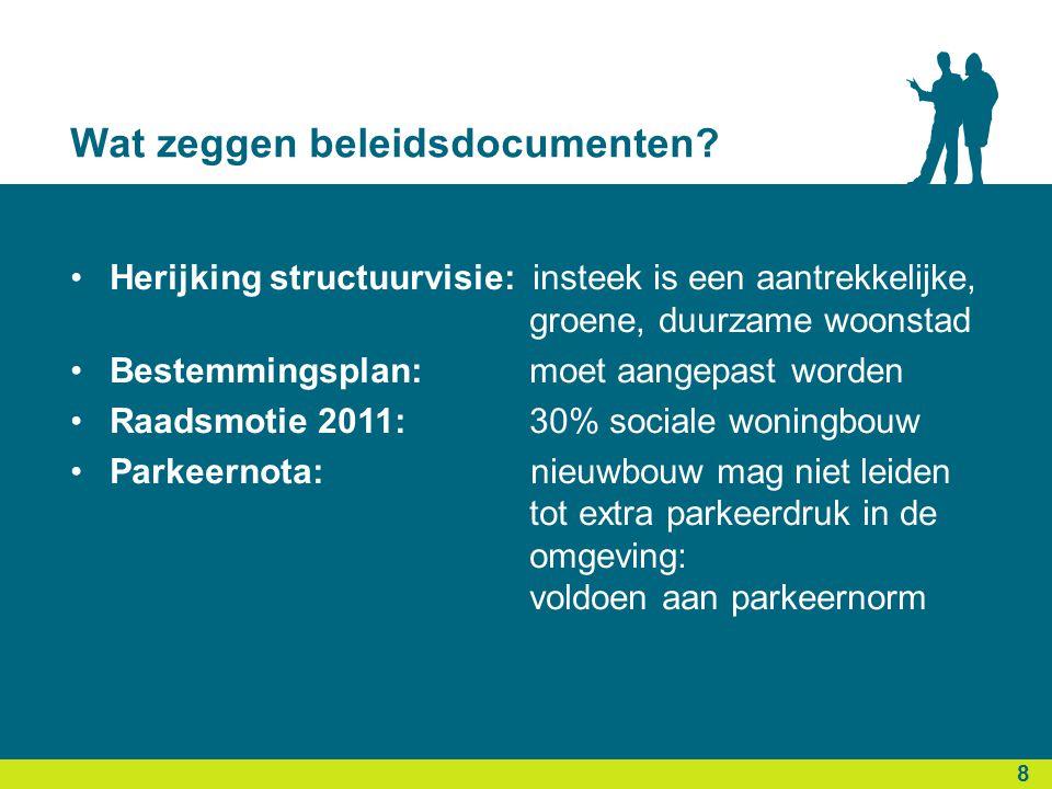 Wat zeggen beleidsdocumenten? 8 •Herijking structuurvisie: insteek is een aantrekkelijke, groene, duurzame woonstad •Bestemmingsplan: moet aangepast w