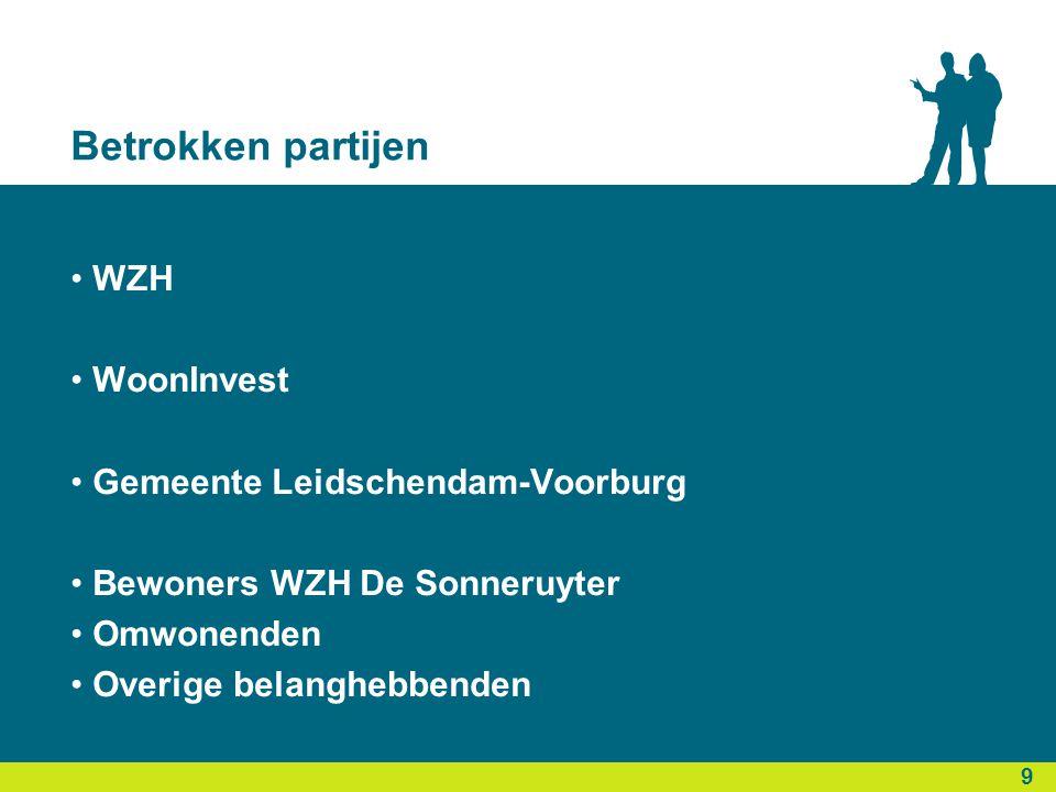Betrokken partijen • WZH • WoonInvest • Gemeente Leidschendam-Voorburg • Bewoners WZH De Sonneruyter • Omwonenden • Overige belanghebbenden 9 9