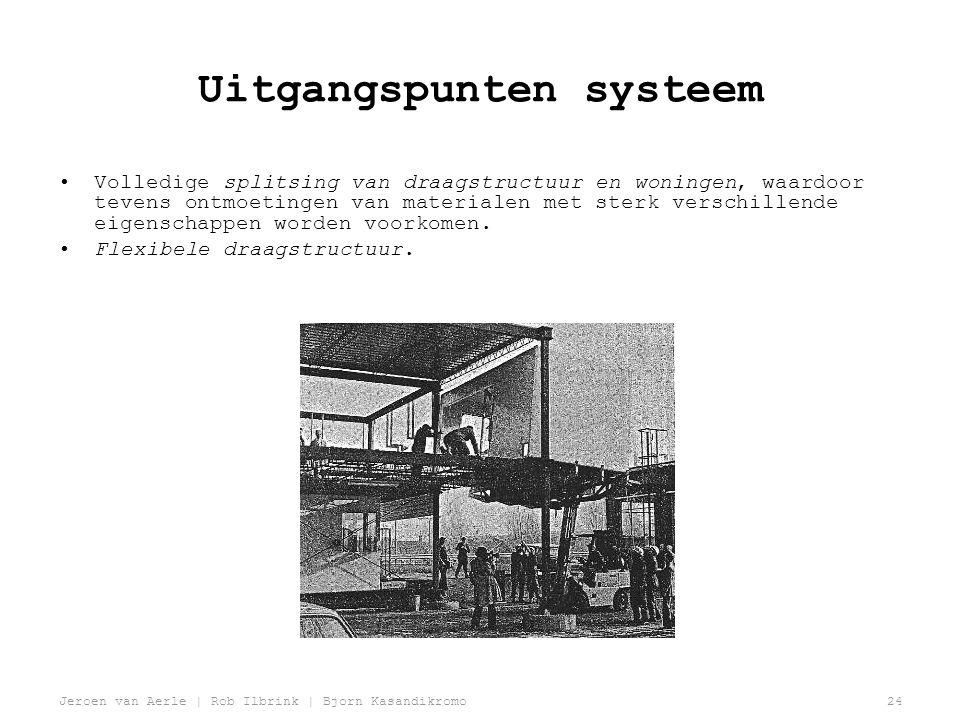 Jeroen van Aerle | Rob Ilbrink | Bjorn Kasandikromo24 Uitgangspunten systeem •Volledige splitsing van draagstructuur en woningen, waardoor tevens ontmoetingen van materialen met sterk verschillende eigenschappen worden voorkomen.