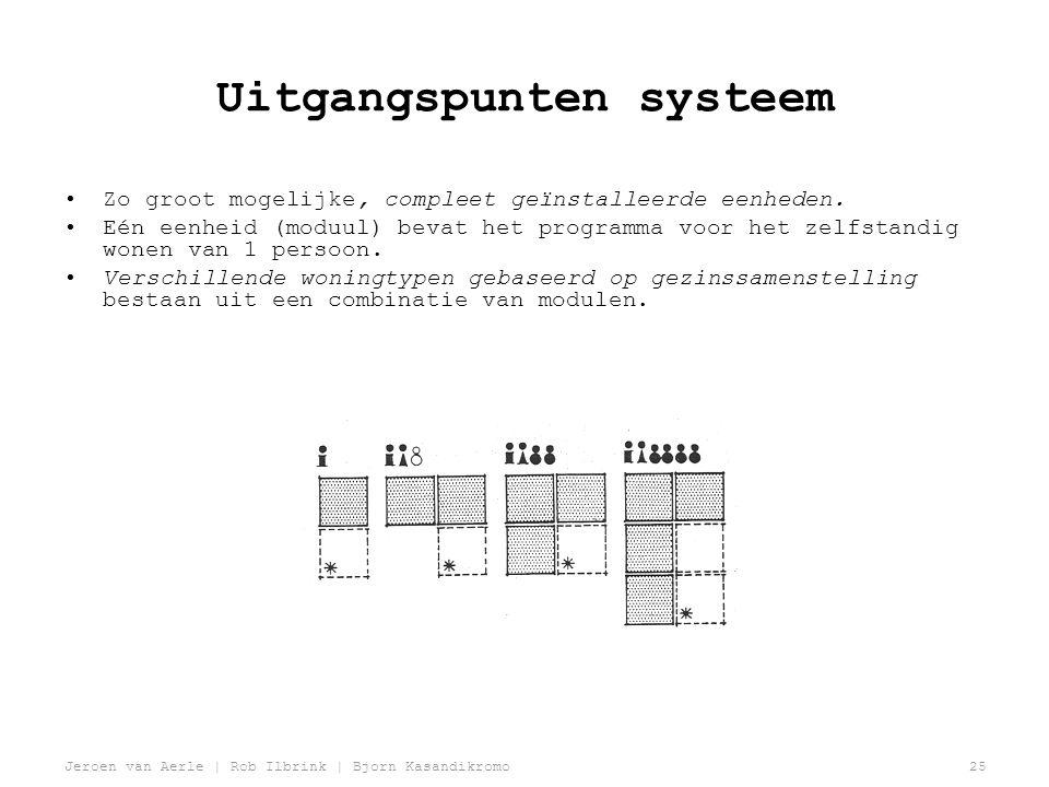 Jeroen van Aerle | Rob Ilbrink | Bjorn Kasandikromo25 Uitgangspunten systeem •Zo groot mogelijke, compleet geïnstalleerde eenheden.