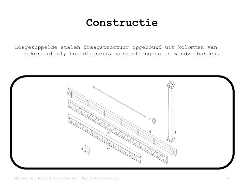 Jeroen van Aerle | Rob Ilbrink | Bjorn Kasandikromo32 Constructie Losgekoppelde stalen draagstructuur opgebouwd uit kolommen van kokerprofiel, hoofdliggers, verdeelliggers en windverbanden.