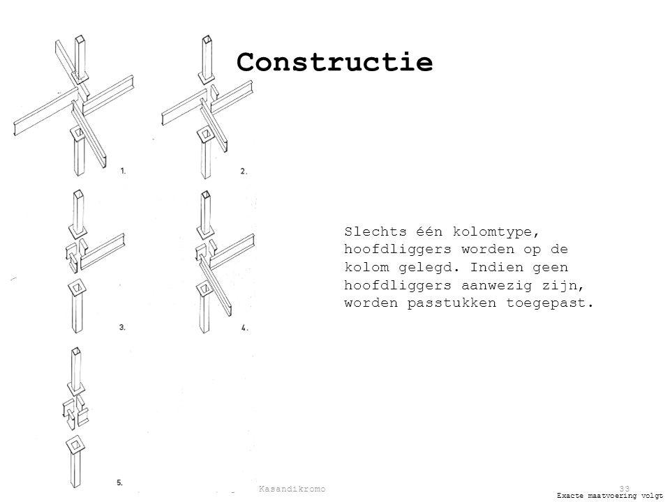 Jeroen van Aerle | Rob Ilbrink | Bjorn Kasandikromo33 Exacte maatvoering volgt Constructie Slechts één kolomtype, hoofdliggers worden op de kolom gelegd.