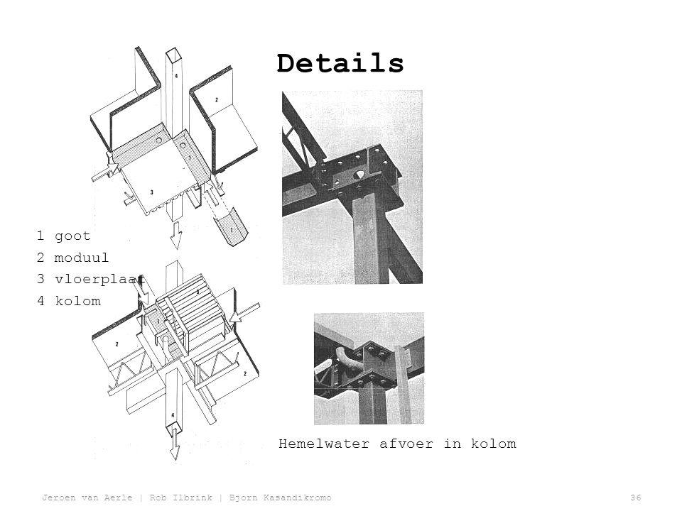 Jeroen van Aerle | Rob Ilbrink | Bjorn Kasandikromo36 Details 1 goot 2 moduul 3 vloerplaat 4 kolom Hemelwater afvoer in kolom