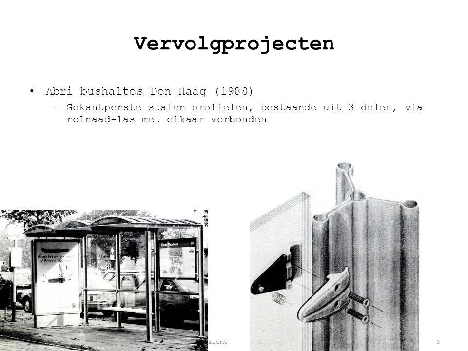 Jeroen van Aerle | Rob Ilbrink | Bjorn Kasandikromo9 Vervolgprojecten •Abri bushaltes Den Haag (1988) –Gekantperste stalen profielen, bestaande uit 3 delen, via rolnaad-las met elkaar verbonden