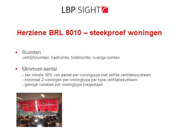 Herziene BRL 8010 – steekproef woningen  Ruimten verblijfsruimten, badruimte, toiletruimte, overige ruimten  Minimum aantal - ten minste 10% van aan