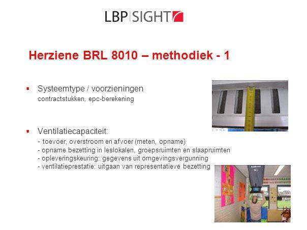 Herziene BRL 8010 – methodiek - 1  Systeemtype / voorzieningen contractstukken, epc-berekening  Ventilatiecapaciteit: - toevoer, overstroom en afvoe