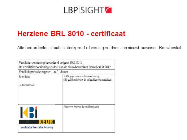 Herziene BRL 8010 - certificaat Alle beoordeelde situaties steekproef of woning voldoen aan nieuwbouweisen Bouwbesluit