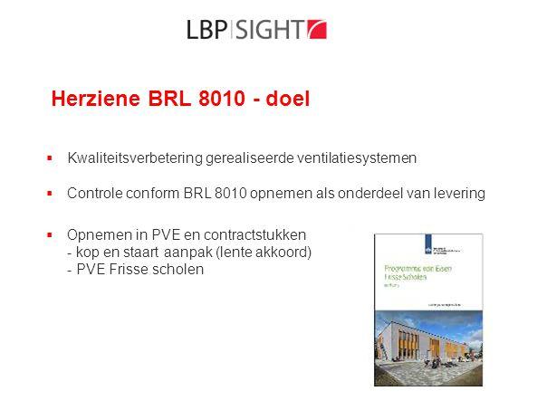 Herziene BRL 8010 - doel  Kwaliteitsverbetering gerealiseerde ventilatiesystemen  Controle conform BRL 8010 opnemen als onderdeel van levering  Opn