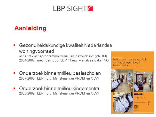 Aanleiding  noodzaak verbetering gerealiseerde kwaliteit (mechanische) ventilatie - actieplan Rijksoverheid voor scholen en kinderdagverblijven  bestaande VentilatiePrestatieKeur BRL 8010 (6 okt 2009) voor woningen  Bestaande BRL aanpassen (LBP|SIGHT i.o.v.