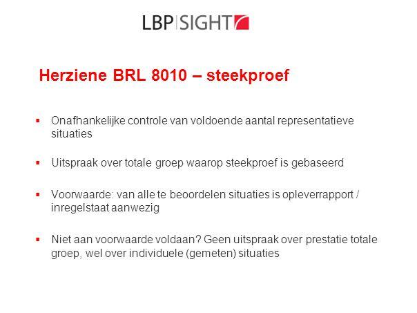 Herziene BRL 8010 – steekproef  Onafhankelijke controle van voldoende aantal representatieve situaties  Uitspraak over totale groep waarop steekproe