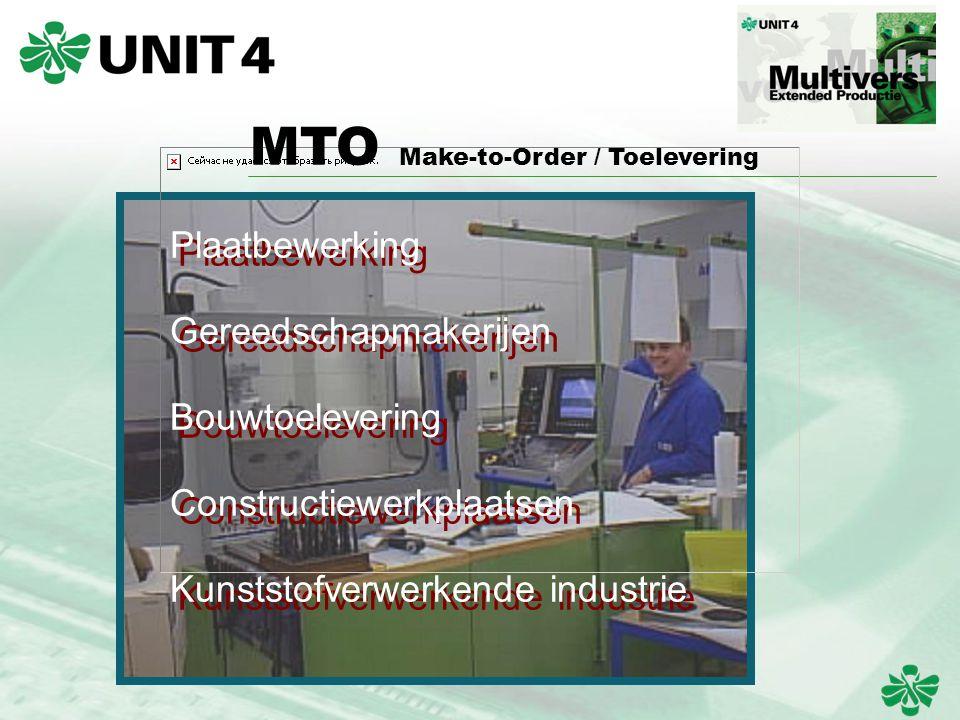 Plaatbewerking Gereedschapmakerijen Bouwtoelevering Constructiewerkplaatsen Kunststofverwerkende industrie MTO Make-to-Order / Toelevering