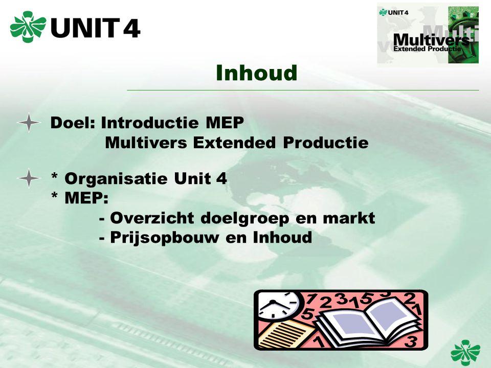 Inhoud Doel: Introductie MEP Multivers Extended Productie * Organisatie Unit 4 * MEP: - Overzicht doelgroep en markt - Prijsopbouw en Inhoud