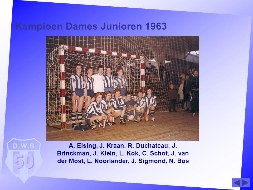 Kampioen Dames Junioren 1963 A. Elsing, J. Kraan, R. Duchateau, J. Brinckman, J. Klein, L. Kok, C. Schot, J. van der Most, L. Noorlander, J. Sigmond,
