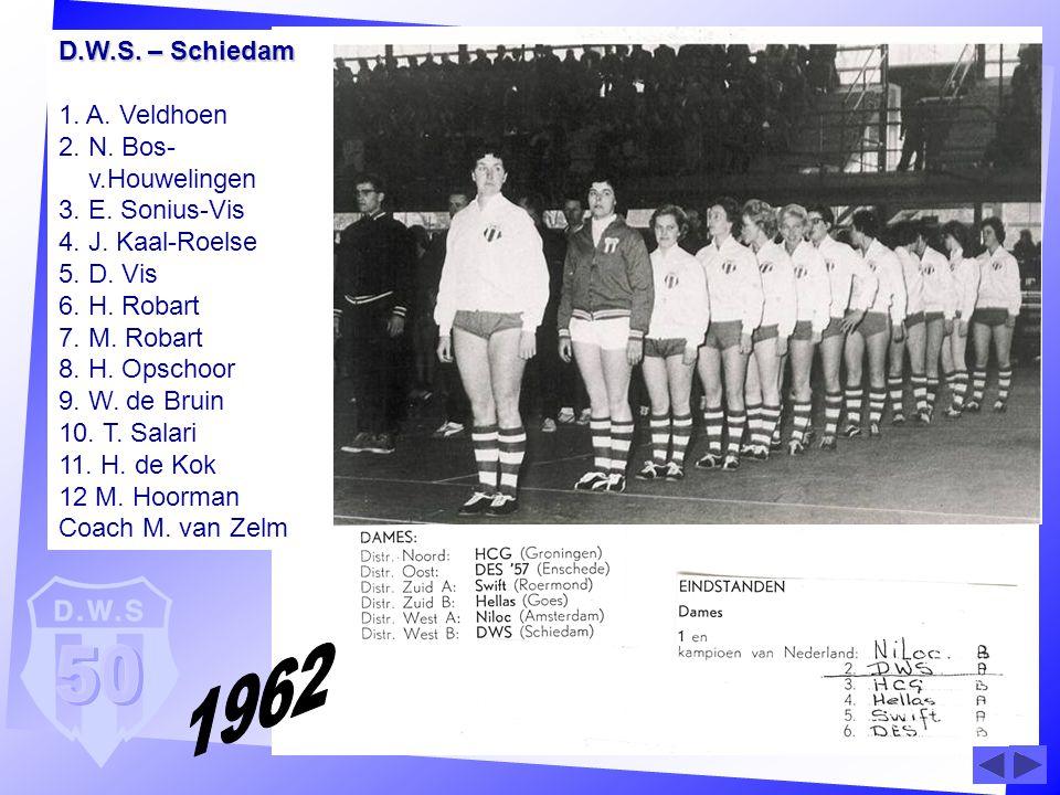D.W.S. – Schiedam D.W.S. – Schiedam 1. A. Veldhoen 2. N. Bos- v.Houwelingen 3. E. Sonius-Vis 4. J. Kaal-Roelse 5. D. Vis 6. H. Robart 7. M. Robart 8.