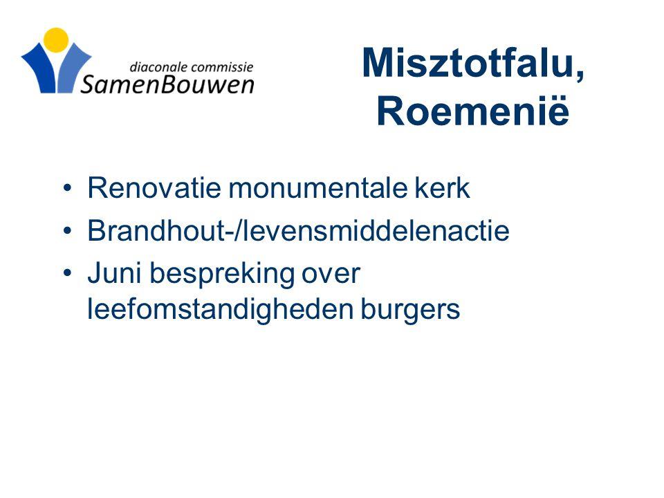 Misztotfalu, Roemenië •Renovatie monumentale kerk •Brandhout-/levensmiddelenactie •Juni bespreking over leefomstandigheden burgers