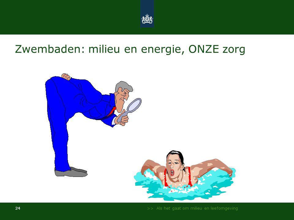 >> Als het gaat om milieu en leefomgeving 24 Zwembaden: milieu en energie, ONZE zorg