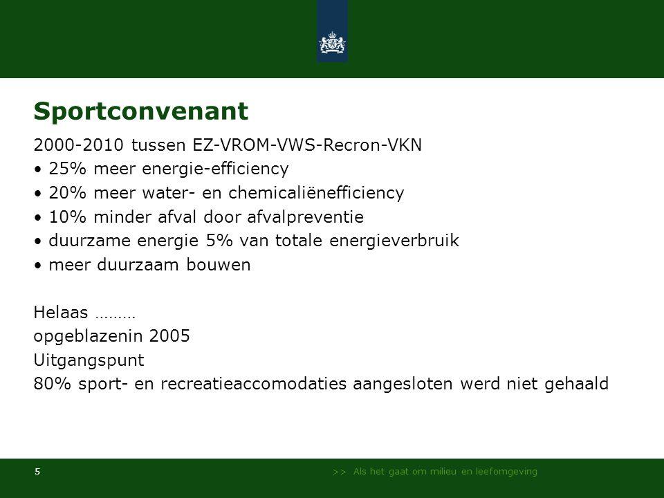 >> Als het gaat om milieu en leefomgeving 5 Sportconvenant 2000-2010 tussen EZ-VROM-VWS-Recron-VKN • 25% meer energie-efficiency • 20% meer water- en chemicaliënefficiency • 10% minder afval door afvalpreventie • duurzame energie 5% van totale energieverbruik • meer duurzaam bouwen Helaas ……… opgeblazenin 2005 Uitgangspunt 80% sport- en recreatieaccomodaties aangesloten werd niet gehaald