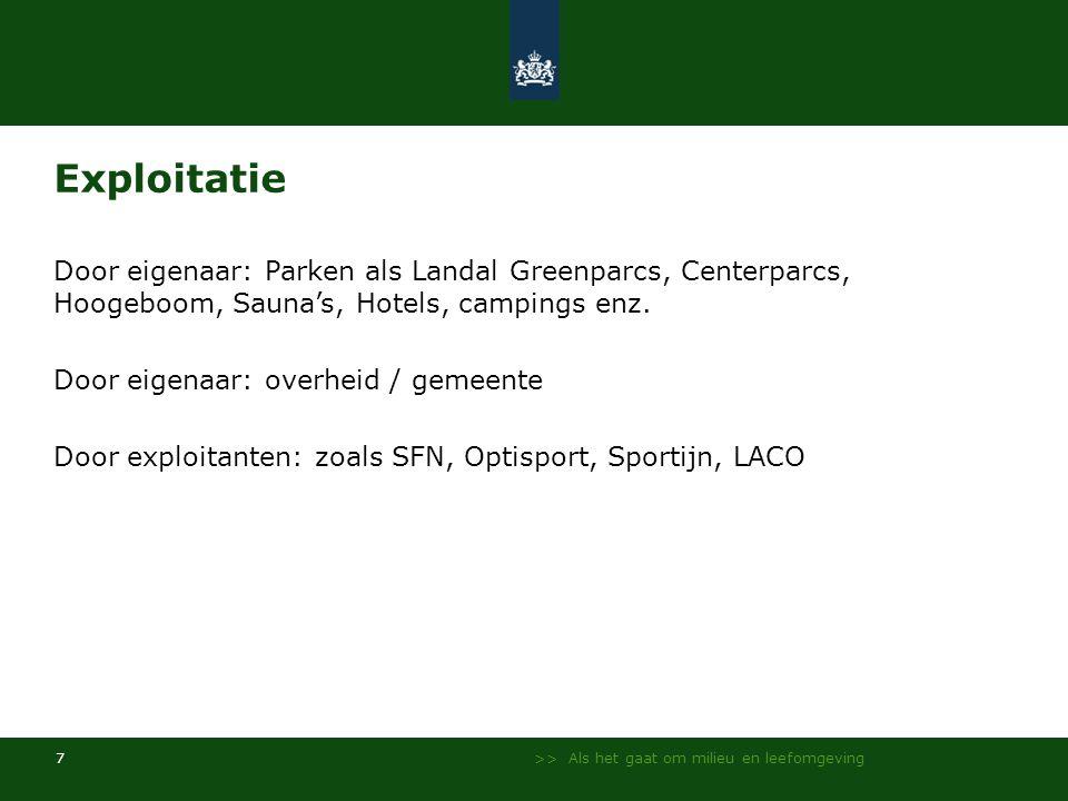 >> Als het gaat om milieu en leefomgeving 7 Exploitatie Door eigenaar: Parken als Landal Greenparcs, Centerparcs, Hoogeboom, Sauna's, Hotels, campings enz.