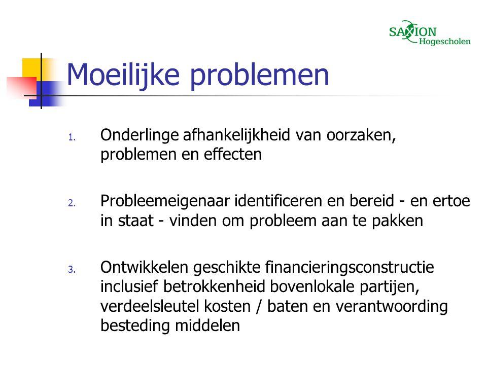 Moeilijke problemen 1. Onderlinge afhankelijkheid van oorzaken, problemen en effecten 2. Probleemeigenaar identificeren en bereid - en ertoe in staat