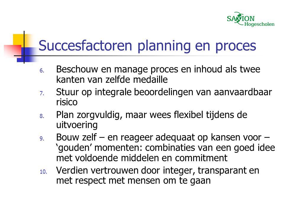 Succesfactoren planning en proces 6. Beschouw en manage proces en inhoud als twee kanten van zelfde medaille 7. Stuur op integrale beoordelingen van a