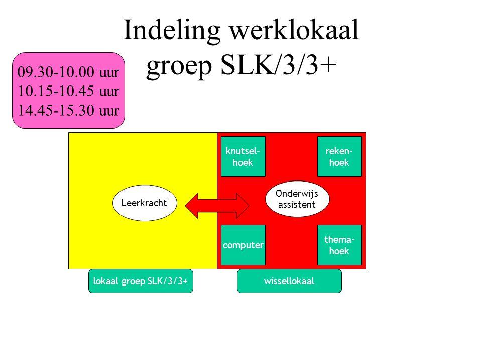 Indeling werklokaal groep SLK/3/3+ Leerkracht Onderwijs assistent 09.30-10.00 uur 10.15-10.45 uur 14.45-15.30 uur lokaal groep SLK/3/3+wissellokaal reken- hoek knutsel- hoek thema- hoek computer