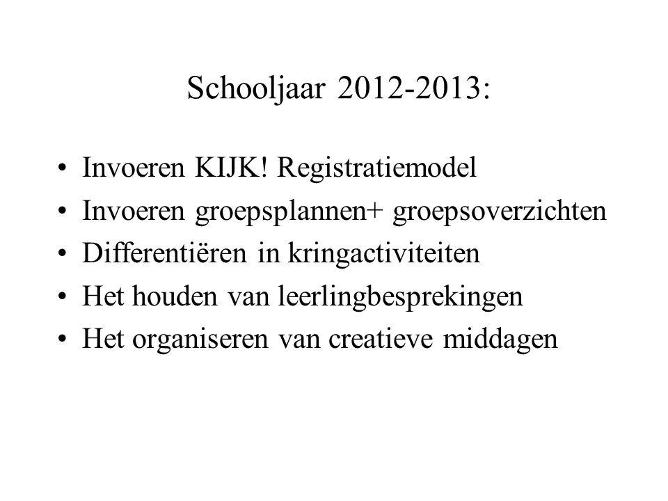 Schooljaar 2012-2013: •Invoeren KIJK.
