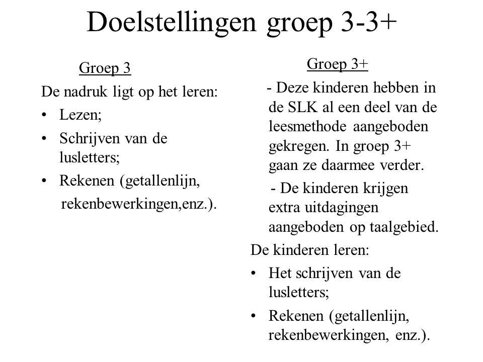 Doelstellingen groep 3-3+ Groep 3 De nadruk ligt op het leren: •Lezen; •Schrijven van de lusletters; •Rekenen (getallenlijn, rekenbewerkingen,enz.).