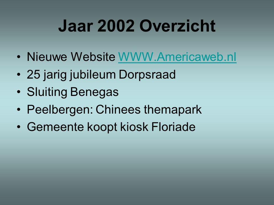 Jaar 2002 Overzicht •Nieuwe Website WWW.Americaweb.nlWWW.Americaweb.nl •25 jarig jubileum Dorpsraad •Sluiting Benegas •Peelbergen: Chinees themapark •Gemeente koopt kiosk Floriade