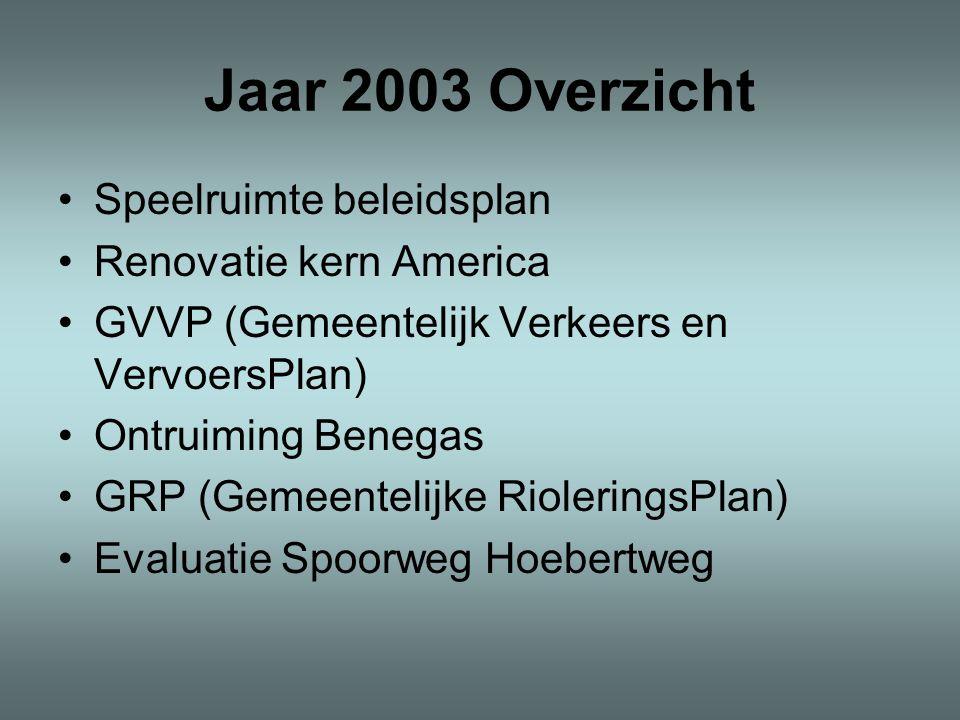Jaar 2003 Overzicht •Speelruimte beleidsplan •Renovatie kern America •GVVP (Gemeentelijk Verkeers en VervoersPlan) •Ontruiming Benegas •GRP (Gemeentelijke RioleringsPlan) •Evaluatie Spoorweg Hoebertweg