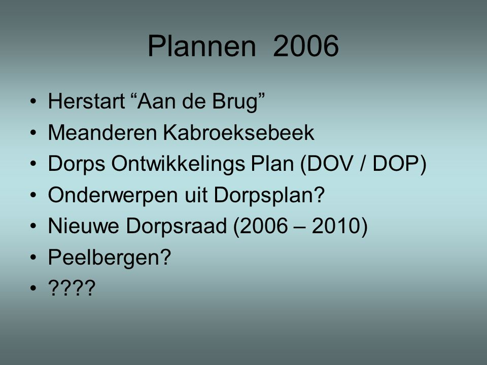 Plannen 2006 •Herstart Aan de Brug •Meanderen Kabroeksebeek •Dorps Ontwikkelings Plan (DOV / DOP) •Onderwerpen uit Dorpsplan.