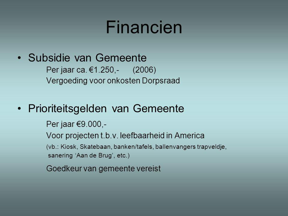 Financien •Subsidie van Gemeente Per jaar ca.