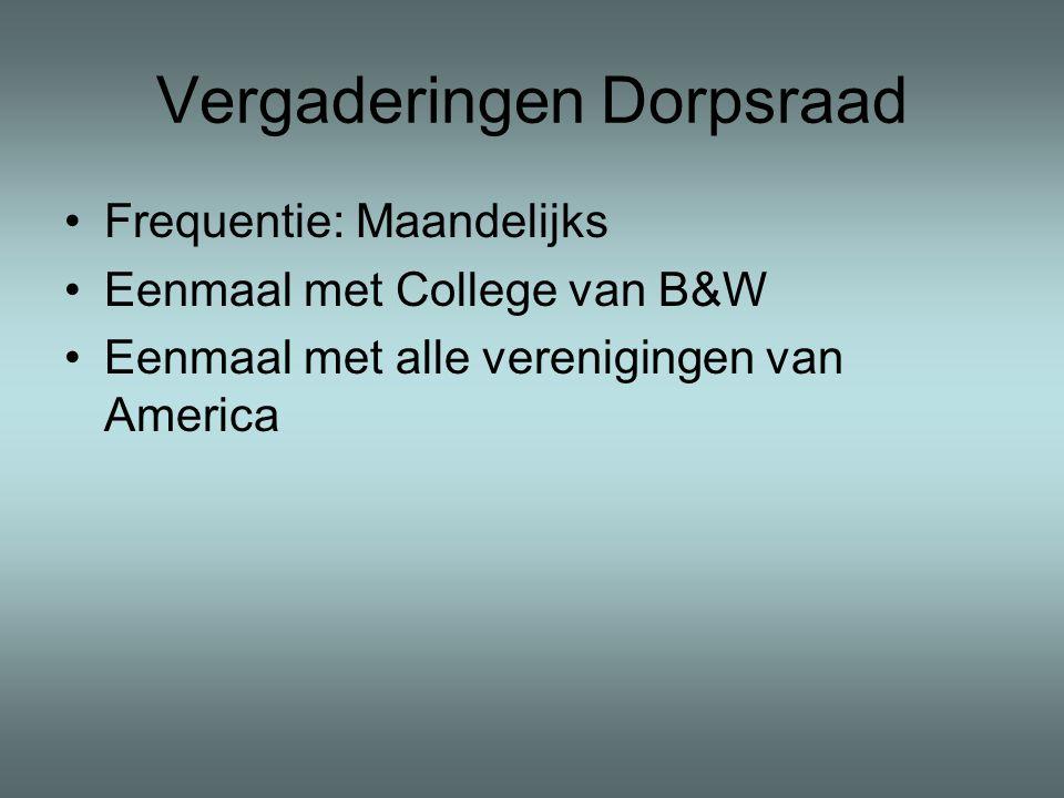 Vergaderingen Dorpsraad •Frequentie: Maandelijks •Eenmaal met College van B&W •Eenmaal met alle verenigingen van America
