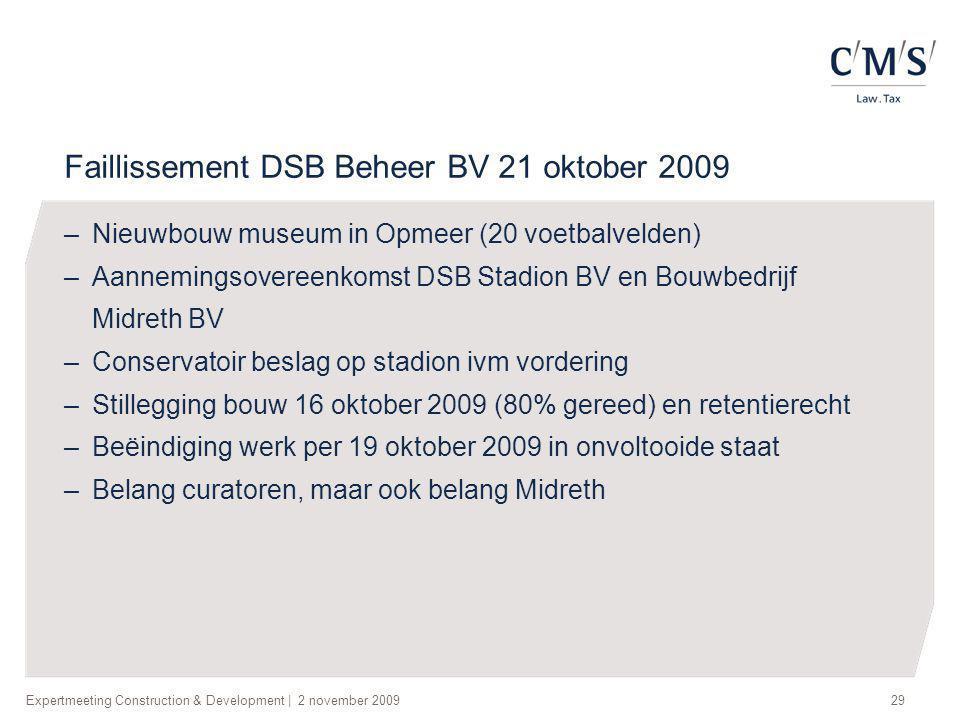 Expertmeeting Construction & Development | 2 november 200929 Faillissement DSB Beheer BV 21 oktober 2009 –Nieuwbouw museum in Opmeer (20 voetbalvelden