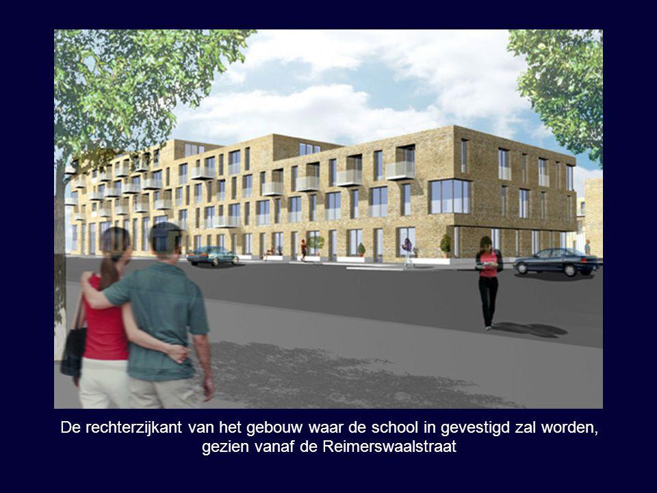 De rechterzijkant van het gebouw waar de school in gevestigd zal worden, gezien vanaf de Reimerswaalstraat