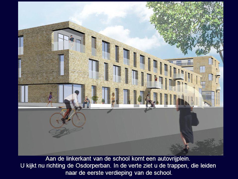 Aan de linkerkant van de school komt een autovrijplein. U kijkt nu richting de Osdorperban. In de verte ziet u de trappen, die leiden naar de eerste v