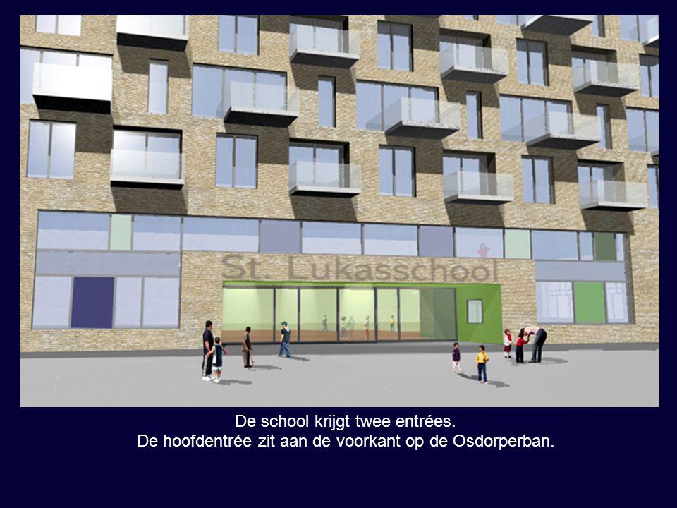 Aan de linkerzijkant van het gebouw is er vanaf het autovrije plein een tweede entrée, die naar de bovenbouw leidt.