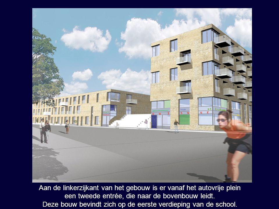 Aan de linkerzijkant van het gebouw is er vanaf het autovrije plein een tweede entrée, die naar de bovenbouw leidt. Deze bouw bevindt zich op de eerst