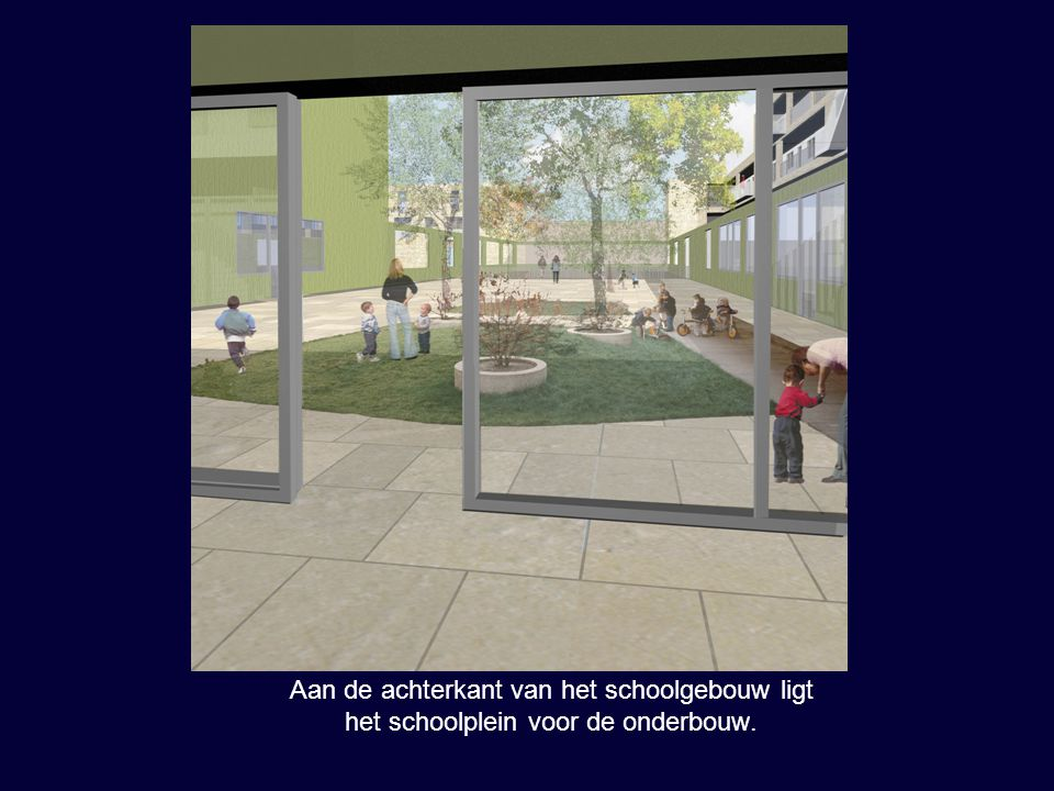 Dit schoolplein is een patio.Hier kijkt u vanuit de patio op de achterkant van het schoolgebouw.