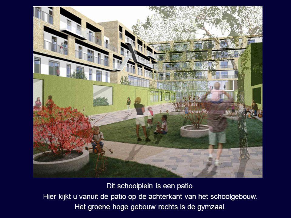 Dit schoolplein is een patio. Hier kijkt u vanuit de patio op de achterkant van het schoolgebouw. Het groene hoge gebouw rechts is de gymzaal.