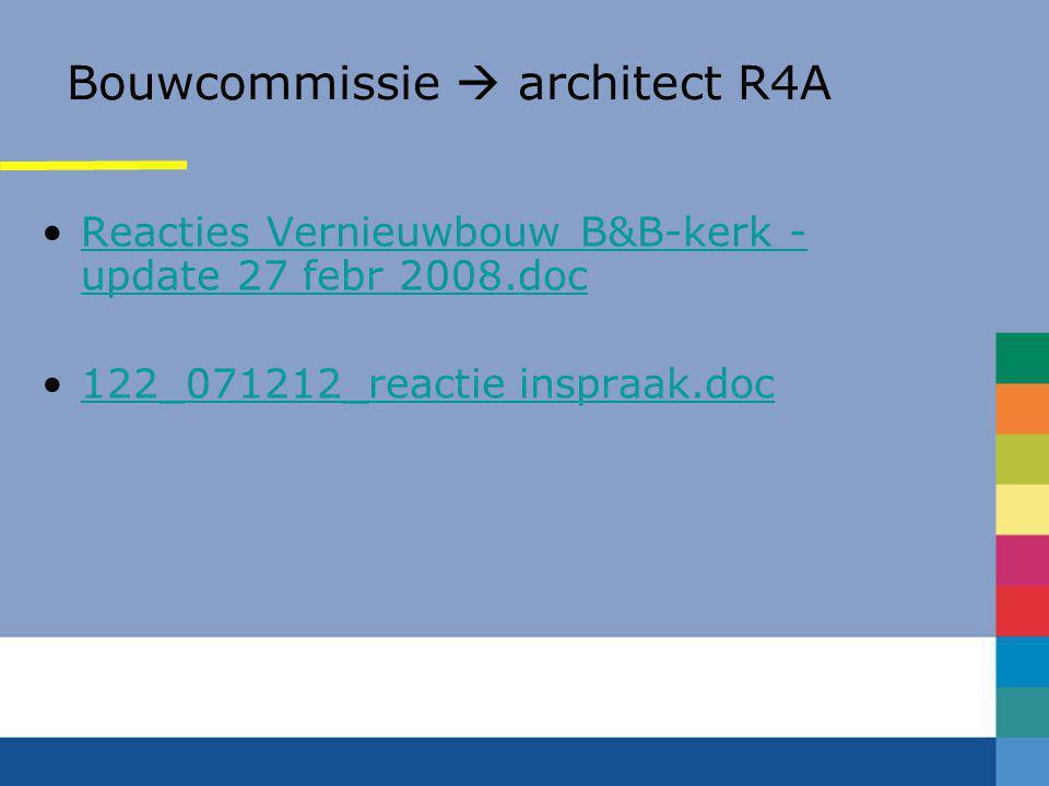 Inspraak via Bouwcommissie •Verslag informatie-avond 20-9-2007 •Lupine – opbaarruimte •Individuele reacties (11) •Objecten in opslag Benedictuskerk •C