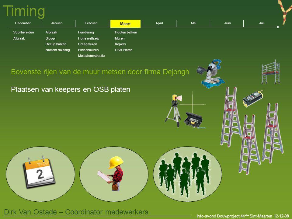 Info-avond Bouwproject 44 ste Sint-Maarten 12-12-08 Dirk Van Ostade – Coördinator medewerkers Bovenste rijen van de muur metsen door firma Dejongh Pla