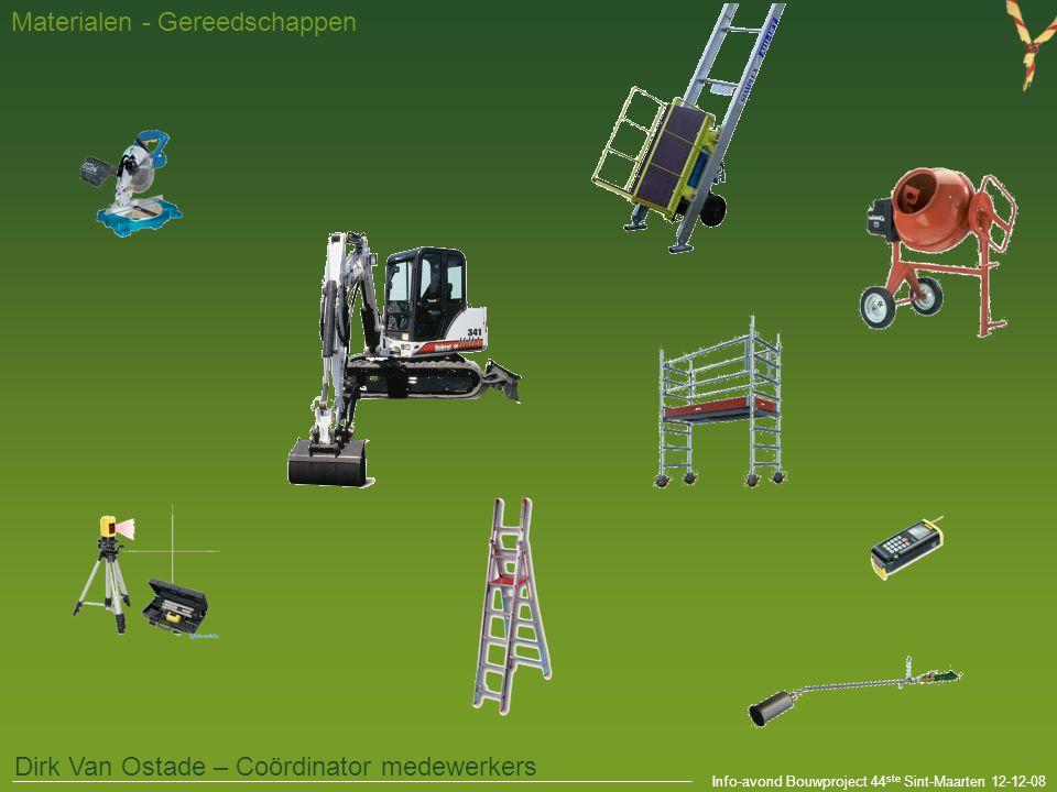 Info-avond Bouwproject 44 ste Sint-Maarten 12-12-08 Materialen - Gereedschappen Dirk Van Ostade – Coördinator medewerkers